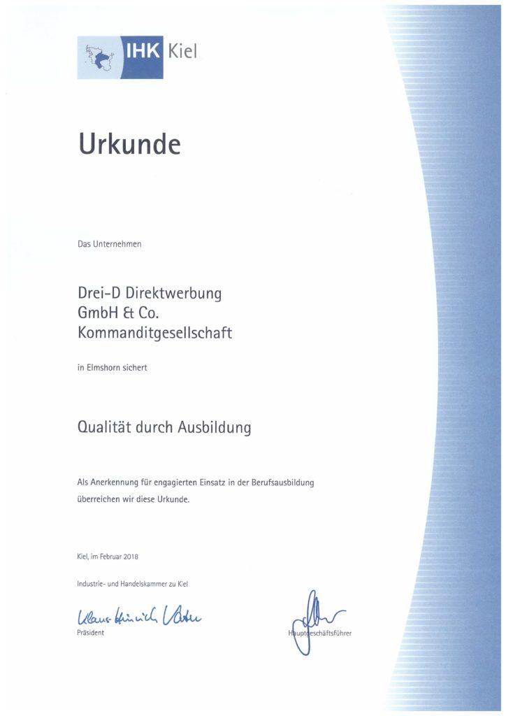 Ausgezeichnet durch die IHK zu Kiel - Ausbildungsbetrieb mit Qualität